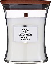 Parfums et Produits cosmétiques Bougie parfumée en jarre avec mèche en bois, Teck blanc - WoodWick Hourglass Candle White Teak