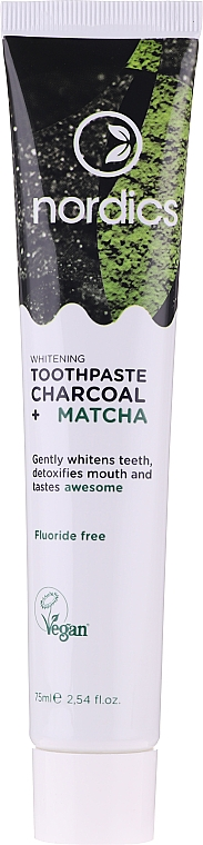 Dentifrice blanchissant au charbon actif et thé matcha - Nordics Whitening Charcoal Matcha Toothpaste