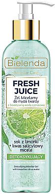 Gel micellaire détoxifiant à l'eau d'agrumes bioactive pour visage - Bielenda Fresh Juice Detox Lime