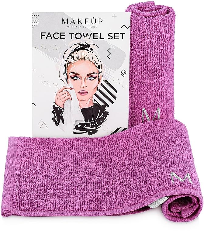 Lot de serviettes pour visage, MakeTravel, lilas - Makeup Face Towel Set