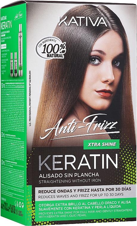 Kativa Keratin Anti-Frizz Xtra Shine - Set (masque pour cheveux/150ml + shampooing/30ml + après-shampooing/30ml)