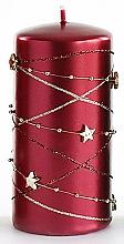 Parfums et Produits cosmétiques Bougie décorative, bordeaux, 7x10 cm - Artman Christmas Garland