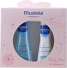 Parfums et Produits cosmétiques Mustela Baby Girl Bavaglino Set Pink - Set (gel nettoyant/200ml + eau nettoyante sans rinçage/300ml + bavoir)