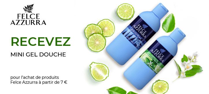 Pour l'achat de produits Felce Azzurra à partir de 7 €, recevez en cadeau un mini gel douche au choix