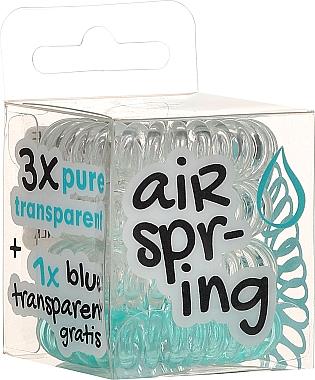 Élastiques à cheveux spirale, transparents + turquoise, 4 pcs - Hair Springs