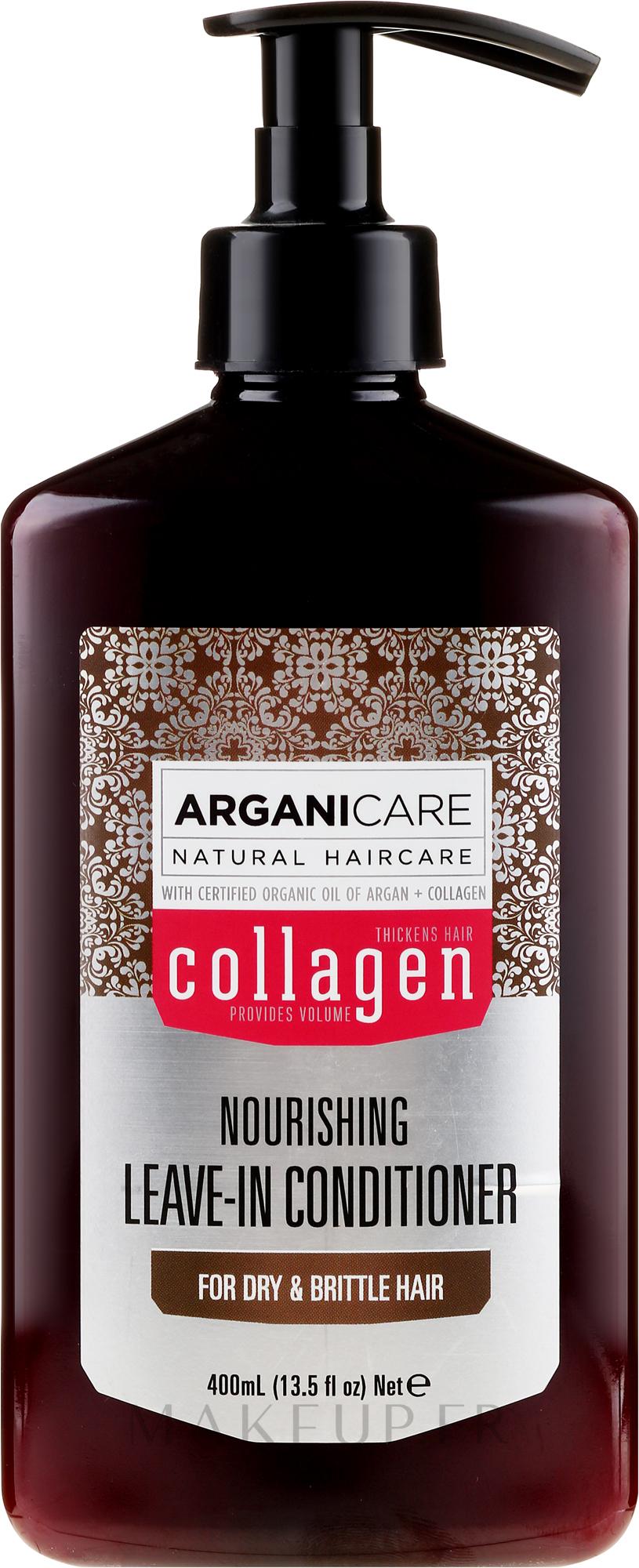 Après-shampooing à l'huile d'argan bio et collagène sans rinçage - Arganicare Collagen Nourishing Leave-In Conditioner — Photo 400 ml