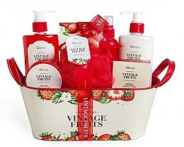 Parfums et Produits cosmétiques Coffret cadeau - IDC Institute Vintage Fruits (sh/g/250ml+b/lot/250ml+b/scrub/120ml+salt/100g+spray/100ml+soap/100g+sponge+basket)