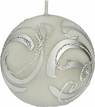 Parfums et Produits cosmétiques Bougie décorative, boule grise avec une application, 8 cm - Artman Christmas Ornament