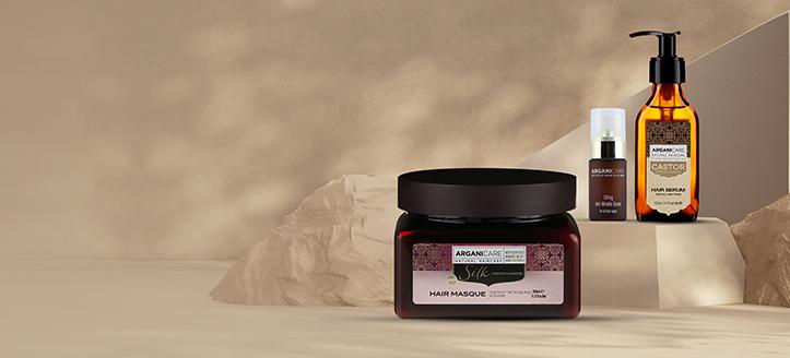 À l'achat de deux produits Arganicare, vous recevrez un masque capillaire aux protéines de soie en cadeau
