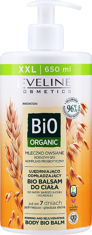 Baume bio au lait d'avoine pour corps - Eveline Cosmetics Bio Organic Firming And Rejuvenating Body Bio Balm Oat Milk