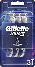 Parfums et Produits cosmétiques Rasoirs jetables, 3pcs - Gillette Blue3 Comfort Football