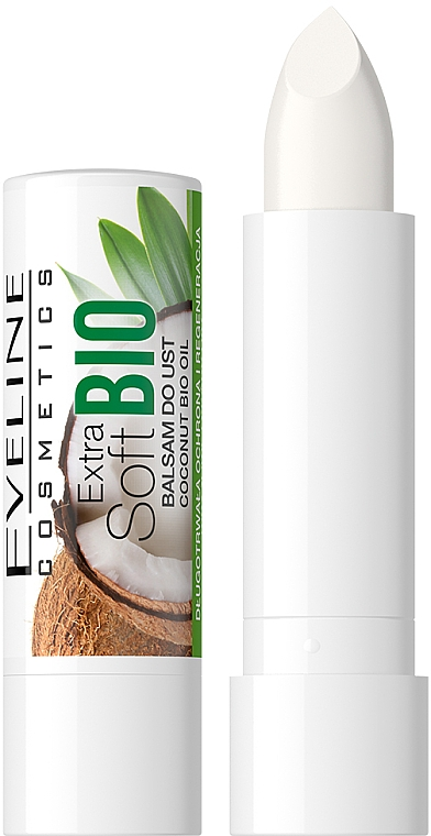 Baume à lèvres bio, Coco - Eveline Cosmetics Extra Soft Bio Coconut Lip Balm