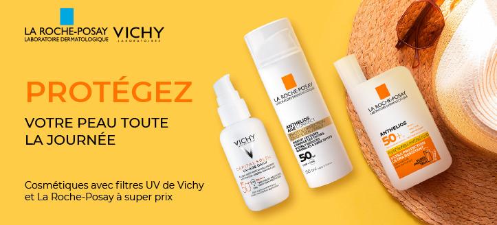 -20% de réduction sur les crèmes solaires Vichy et La Roche-Posay. Les prix sur le site sont indiqués avec des réductions