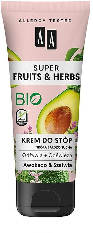 Crème pour pieds, Avocat et Sauge - AA Super Fruits & Herbs