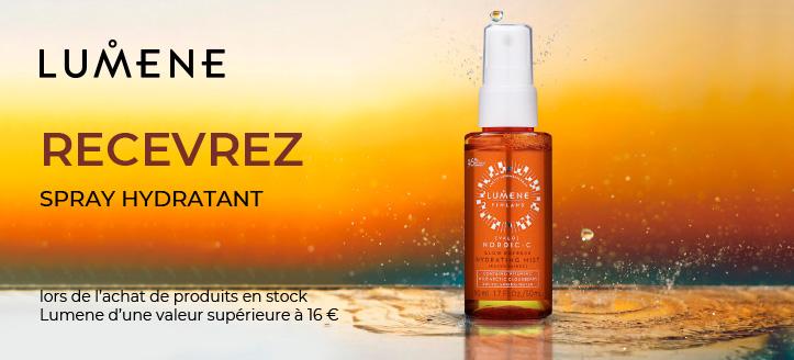 Recevez un spray hydratant en cadeau à l'achat de produits spéciaux Lumene d'une valeur supérieure à 16 €