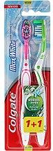 Parfums et Produits cosmétiques Lot de 2 brosses à dents medium, rose + vert - Colgate Max White Medium Polishing Star