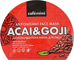 Parfums et Produits cosmétiques Masque tissu au baie de goji et açai pour visage - Cafe Mimi Antioxidant Face Mask Acai & Goji