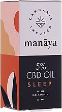 Parfums et Produits cosmétiques Huile de chanvre à la mélatonine pour s'endormir - Manaya 5 % CBD Oil Sleep With Melatonin