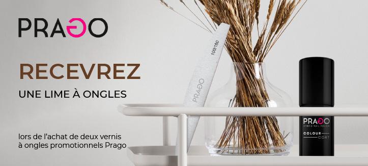 Lors de l'achat de deux vernis à ongles promotionnels Prago, vous recevez une lime à ongles en cadeau