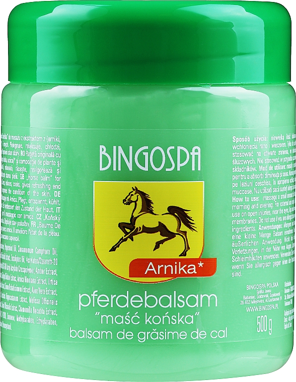 Baume de cheval à l'extrait d'arnica pour corps - BingoSpa Horse Ointment With Arnica