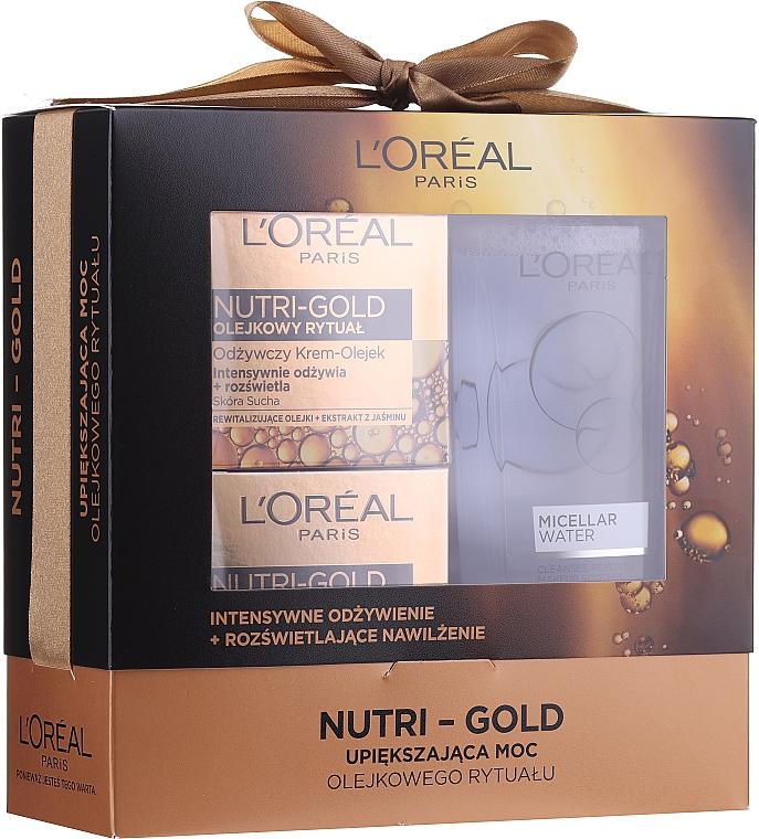 Loreal Nutri Gold - Set (crème-masque de nuit/50ml + crème-huile de jour/50ml + eau micellaire/200ml)