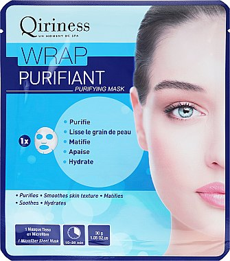 Masque en tissu lissant et hydratant - Qiriness Wrap Purifiant Mask — Photo N1