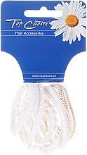 Parfums et Produits cosmétiques Lot de 10 élastiques à cheveux White Collection, blanc et or - Top Choice