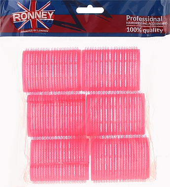 Bigoudis velcro 44/63, rose - Ronney Professional Velcro Roller