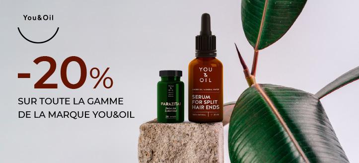 -20% de réduction sur toute la gamme You&Oil. Le prix indiqué est après la réduction annoncée