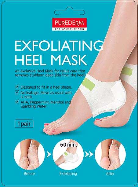 Masque exfoliant à la menthe pour talons - Purederm Exfolaiting Heel Mask