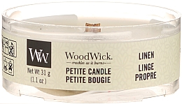 Parfums et Produits cosmétiques Bougie parfumée avec mèche en bois, Linge propre - Woodwick Petite Candle Linen