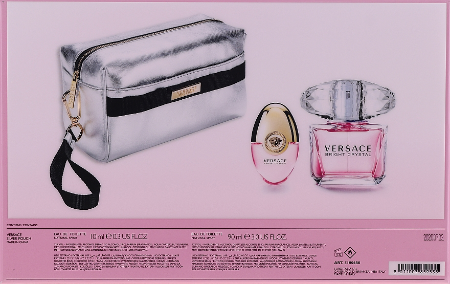 Versace Bright Crystal - Coffret (eau de toilette/90ml + eau de toilette/10ml + trousse de toilette) — Photo N2