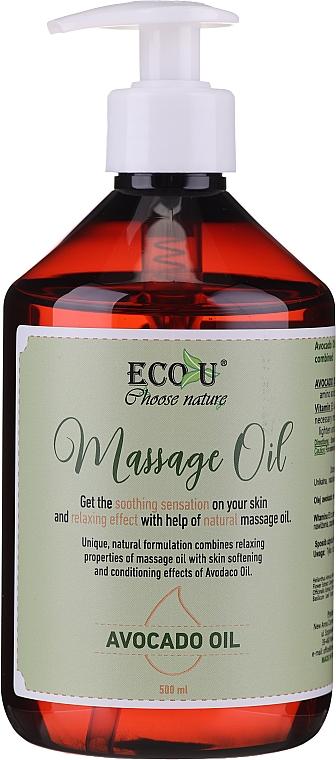 Huile de massage à l'huile d'avocat - Eco U Avocado Massage Oil
