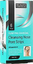 Parfums et Produits cosmétiques Patchs au charbon actif et huile de menthe poivrée pour nez - Beauty Formulas Purifying Charcoal Deep Cleansing Nose Pore