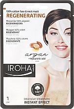 Parfums et Produits cosmétiques Masque tissu à l'huile d'argan pour visage et cou - Iroha Nature Regenerating Argan Oil 100% Cotton Face & Neck Mask