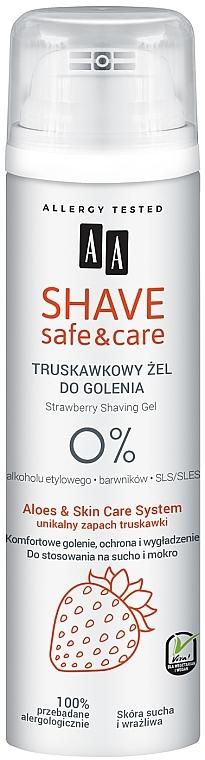 Gel de rasage à l'extrait d'aloe vera - AA Shave Safe & Care Strawberry Shaving Gel