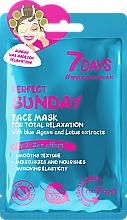 Parfums et Produits cosmétiques Masque tissu à l'extrait d'agave bleu et de lotus pour visage - 7 Days Perfect Sunday