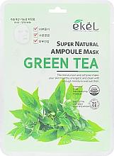Masque tissu à l'extrait de thé vert pour visage - Ekel Super Natural Ampoule Green Tea — Photo N1