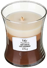 Parfums et Produits cosmétiques Bougie parfumée en jarre avec mèche en bois, Café gourmand - WoodWick Hourglass Trilogy Cafe Sweets