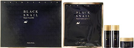 Holika Holika Prime Youth Black Snail Skin Care Kit - Set pour visage (crème/18ml + lotion tonique/31ml + émulsion/31ml + masque hydrogel)