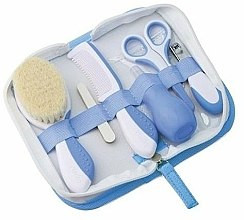 Parfums et Produits cosmétiques Kit de soin ongles pour bébé, blanc-bleu - Nuvita (brosse à cheveux + peigne + lime x 5 + ciseaux + coupe-ongles + mouche bébé poire)
