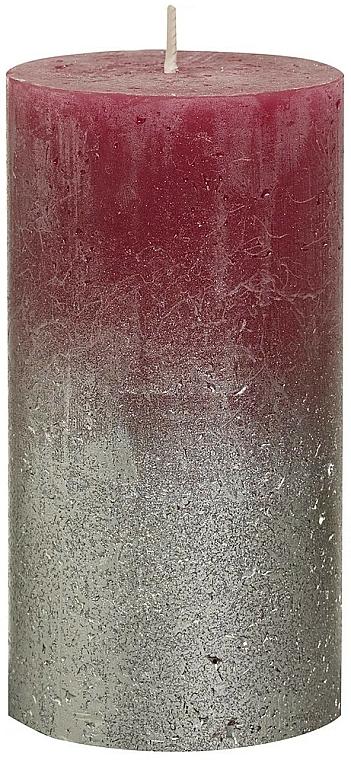 Bougie cylindrique, bordeaux-argent, 130x68 mm - Bolsius Metallic Candle — Photo N1