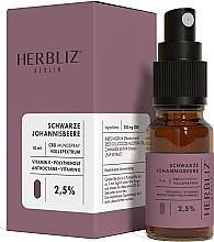 Parfums et Produits cosmétiques Spray buccal à l'huile de CBD 2,5%, Cassis - Herbliz CBD Oil Mouth Spray 2,5%
