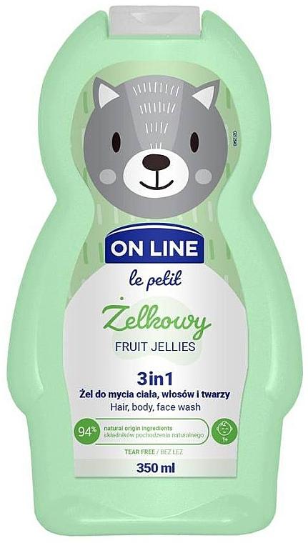 Gel nettoyant pour visage, corps et cheveux Gelée de fruits - On Line Le Petit Fruit Jellies 3 In 1 Hair Body Face Wash