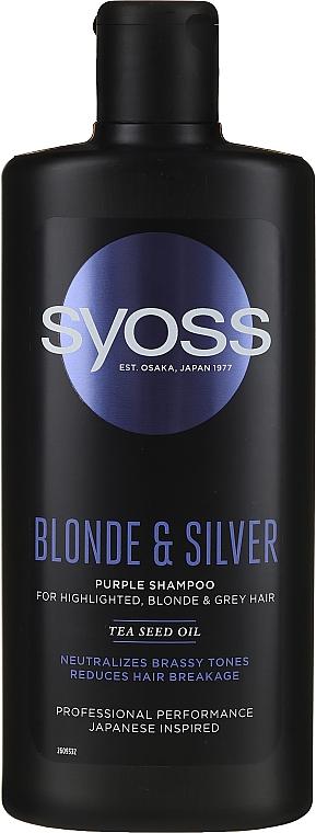 Shampooing pour cheveux blonds, décolorés et gris - Syoss Blond & Silver Purple Shampoo For Highlighted, Blonde & Grey Hair