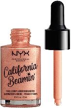 Enlumineur liquide visage et corps - NYX Professional Makeup California Beamin' Face & Body Liquid Highlighter — Photo N2