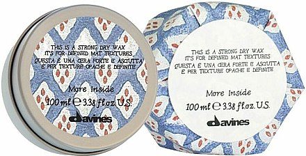 Cire sèche coiffant à effet mat,tenue forte - Davines More Inside Strong Dry Wax — Photo N1
