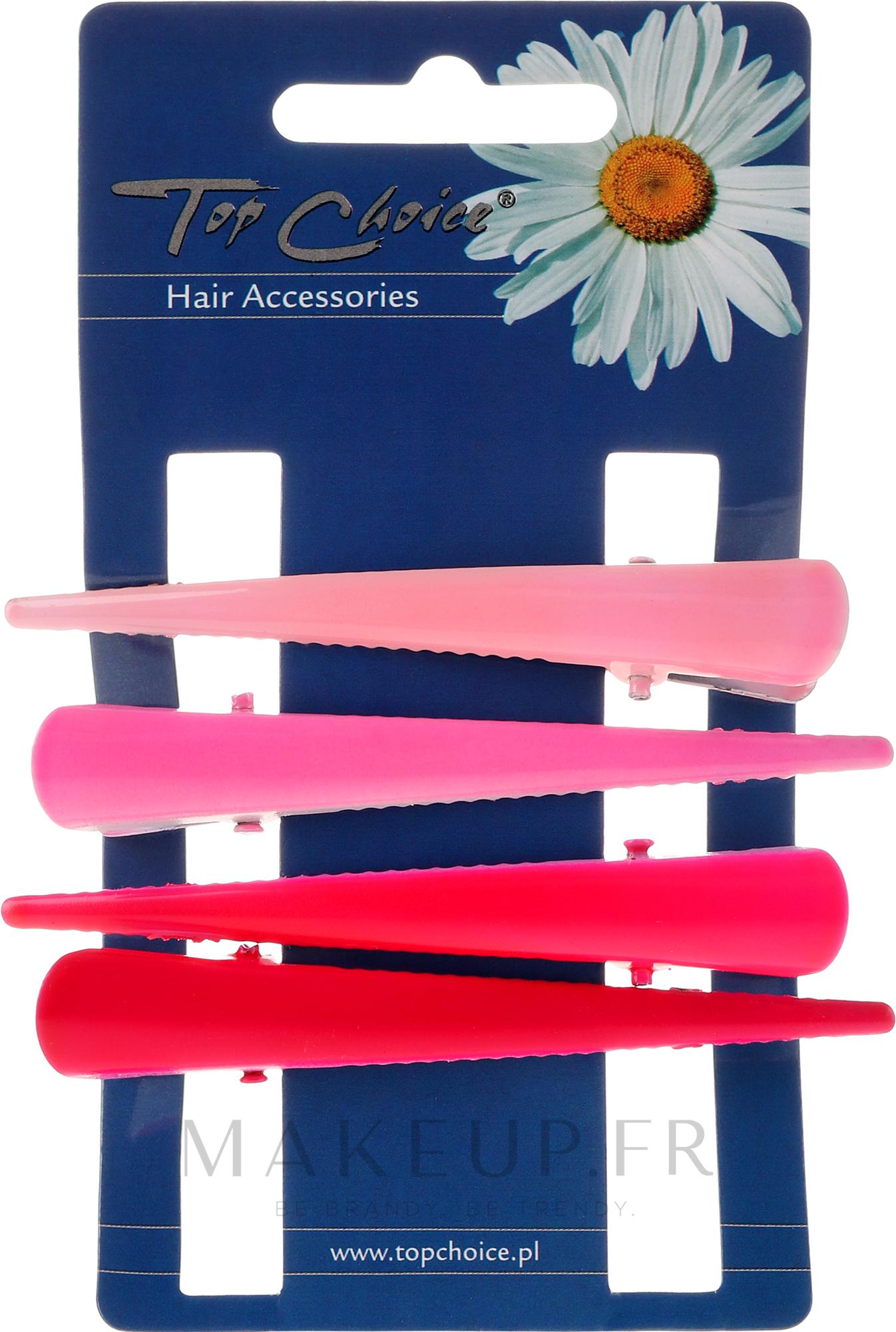 Barrettes à cheveux, 25075, rose et rouge - Top Choice — Photo 4 pcs.