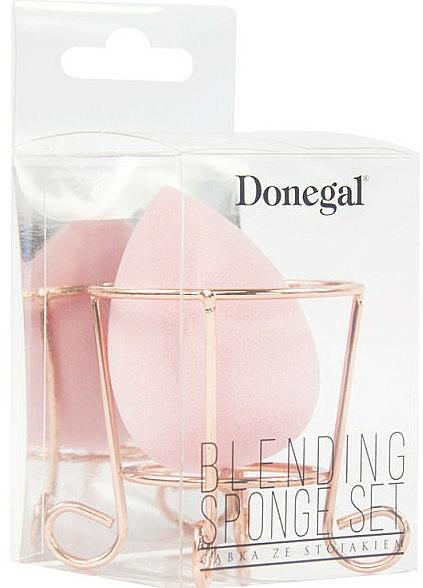 Éponge à maquillage avec porte-éponge, rose - Donegal