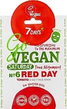 Parfums et Produits cosmétiques Masque tissu à l'extrait de tomate pour visage - 7 Days Go Vegan Saturday Red Day